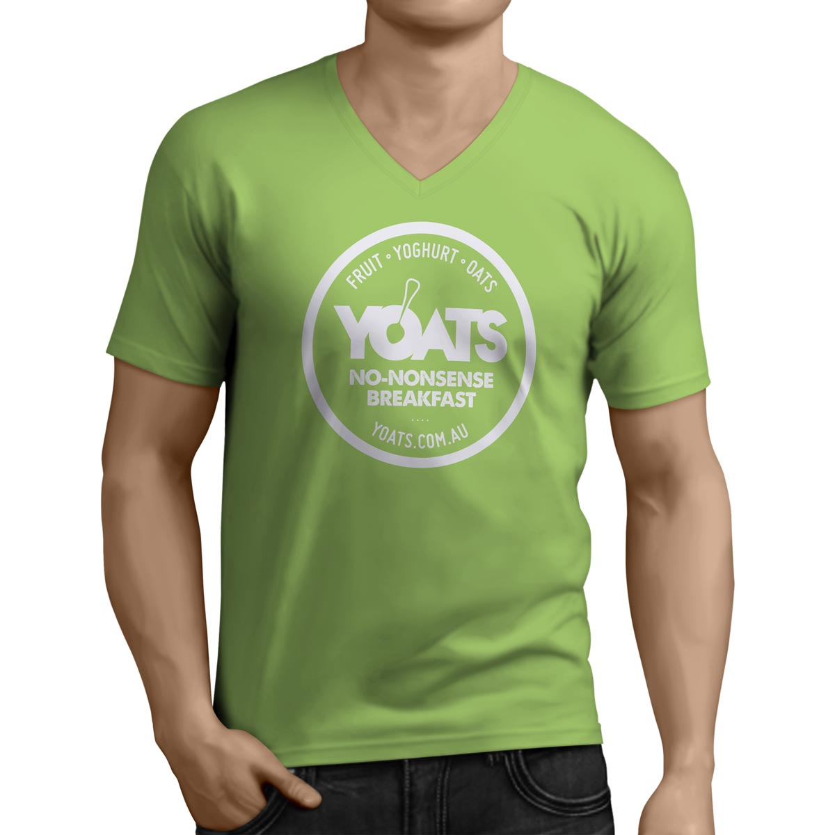 A green tshirt with the white YOATS logo on it